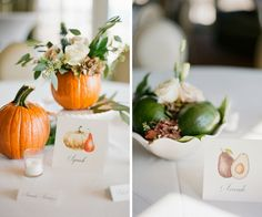 Natural and Organic Wedding Reception Pumpkin and White Rose with Greenery Centerpiece and Avocado Centerpiece   Fruit and Vegetable Table Markers   St Pete Wedding