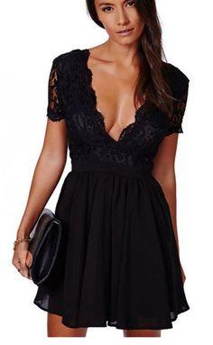 light blue laced dress,v-neck short dress,evening dress,homecoming dress,427 - Thumbnail 1