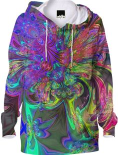 #Glowing Burst of #Color, #Abstract Teal & Violet #Deva Hoodie from Print All Over Me #hoodie #printalloverme