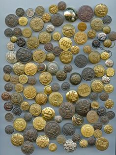 SOLD: 118 mostly uniform buttons metal and a few plastic antique and vintage buttons