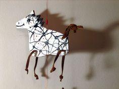 pony mobile Kids Animals, Paper Puppets, Giraffe, Pony, Crafts For Kids, Crafty, Inspiration, Children, Pony Horse