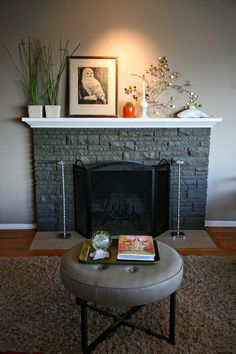 painted how we did mom & dad's with fireplace brick a shade or two darker than wall
