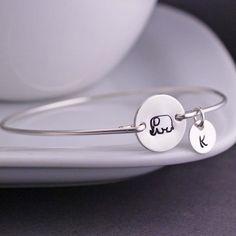 Elephant Bracelet Elephant Jewelry Personalized by georgiedesigns, $36.00