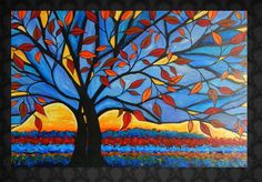 "Abstract Tree Painting ""Wildfire"" 24x36."