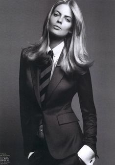 Julia Stegner | Vogue Paris September 2005 | black and white fashion editorial | suited | hot | model in a suit and tie | women on men's clothing | I love this shot