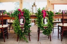 Custom made Victorian inspired silhouettes framed by garland at a Castle Hill Inn wedding reception in Newport, RI