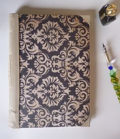 Handmade leather spine A5 notebook, sketchbook, journal, damask print by TheCraftFantastic on Etsy