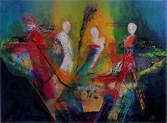 Nieuw in de collectie schilderijen met de titel Passanten (70 x 95 x 2 cm) http://www.woonkamer-ideeen.nl/beeldende-kunst-kopen/schilderijen/