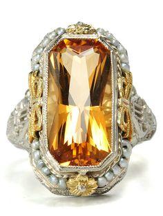 Glowing Art Deco Citrine & Pearl Ring