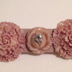 Dark Pink Celluloid Floral Pin Brooch w/ Rhinestone by AntiguaNM on Etsy