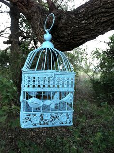 Square Aqua Country French Bird Cage with by RepurposedTreasure4U, $38.00