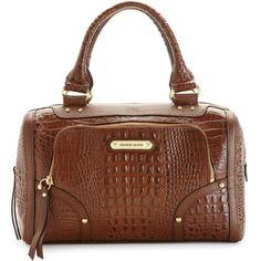 Franco Sarto Handbag, Dixon Croco Satchel (495 BRL) ❤ liked on Polyvore featuring bags, handbags, brown satchel handbag, leather satchel purse, genuine leather handbags, brown leather satchel and brown purse