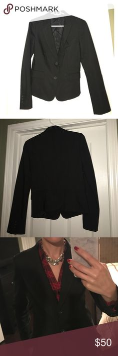 "Women's black 2 button suit jacket from Express Black suit jacket from Express. 2 buttons & built in padding at shoulders makes this the ultimate finishing touch to your power suit. Worn once to an interview, so it's in perfect condition. Size 6; I'm 5'6"", 115 lbs. Express Jackets & Coats Blazers"