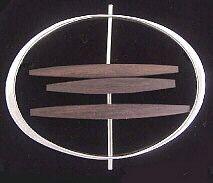 silver, wood brooch, Betty Cooke