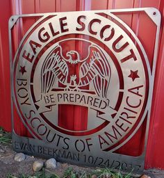 Memorialize the date your scout earns Eagle Scout status with this personalized 12 gage steel sign. It measures 18 × 18 inch. Place name and date in note to seller during checkout process. Most signs ship within 5 days! Girl Scout Swap, Girl Scout Leader, Boy Scouts Merit Badges, Personalized Metal Signs, Eagle Scout Ceremony, Eagle Project, Pipe Cleaner Crafts, Pipe Cleaners, Girl Scout Crafts