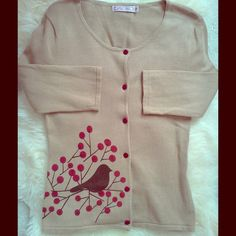Puxa Vida Bird Sweater Cardigan Never worn. Pet and smoke free Puxa Vida Sweaters Cardigans