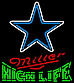 Miller High Life Dallas Cowboys NFL Neon Sign 1 0015, Miller High Life with NFL Neon Signs | Beer with Sports Signs. Makes a great gift. High impact, eye catching, real glass tube neon sign. In stock. Ships in 5 days or less. Brand New Indoor Neon Sign. Neon Tube thickness is 9MM. All Neon Signs have 1 year warranty and 0% breakage guarantee.