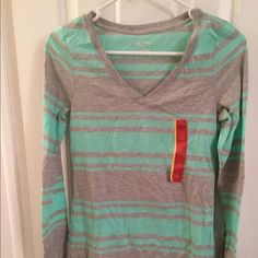 Long sleeved t-shirt Long sleeved t-shirt, gray and mint striped, size small, new with tags Tops Tees - Long Sleeve