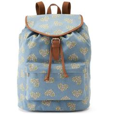 Candie's Riley Floral Denim Heart Backpack (Blue) ($24) ❤ liked on Polyvore featuring bags, backpacks, blue, drawstring backpack, pattern backpack, travel rucksack, pocket backpack and knapsack