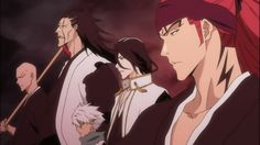 Ikkaku, Kenpachi, Toshiro, Byakuya and Renji by TheBoar on deviantART Bleach Manga, Bleach Renji, Bleach Fanart, Kawaii Chibi, Kawaii Anime, Kenpachi Zaraki, Departed Soul, Bleach Funny, Clorox Bleach