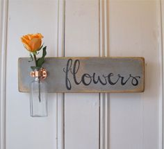 Hanging Wall Flower Vase, Antique Bottle, Flowers, Copper Hanger, Spring, Home Decor, Gray Chalk Paint, $39.95