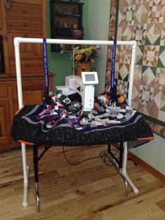 Jennoop Quilt Suspenders and Stand -- What will they think of next?  Love this idea!