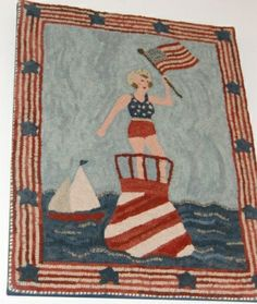 One of Polly Minick's All American Bathing Beauty hooked rugs...