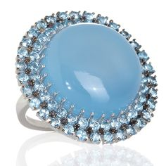 Treasures of India Gemstone and Sky Blue Topaz Sterling Silver Ring at HSN.com