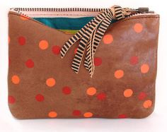 Image of Hand Made Printed Neon Dottie Leather Purse