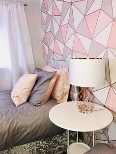 Modern grey, blush and rose gold teen room makeover for Make A Wish UK Bedroom Ideas For Teen Girls Tumblr, Teenage Girl Bedroom Decor, Gold Bedroom Decor, Teen Bedroom Designs, Teen Room Decor, Girls Bedroom, Bedroom Wallpaper Teenage, Diy Bedroom, Bedroom Inspo