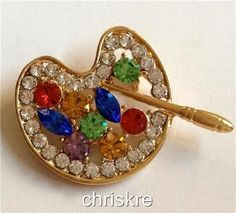 Artist Palette Gold Pin Brooch Multicolor Crystals Artists Gift Paintbrush USA