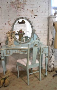 Painted Cottage Shabby Romantic Aqua Vanity by paintedcottages