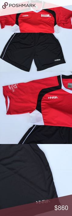 Soccer Uniform Set Bundle Shirt + Shorts by INARIA Great Used Condition! Beautiful and bold colors red, white, and black in this soccer outfit uniform that'll make your little star shine! Be the ultimate soccer mom with the gift of this adorable soccer team uniform! Minor signs of wear throughout including some minor stains on the back of the team shirt! The top is a Youth XL and the bottoms are an Adult Small! INARIA Matching Sets