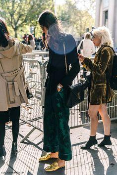 Le Fashion Blog Fall Street Style Pfw Black Button Down Shirt Green Silk Pajama Style Pants YSL Shoulder Bag Gold Metallic Mule Flats Via Collage Vintage