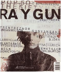 "Ray Gun was an American alternative rock n roll magazine, first published in 1992 . Led by founding art director David Carson who was influential graphic designer at that time. His widely-imitated aesthetic defined the so-called ""grunge typography"" era. David Carson Design, Art Grunge, Grunge Goth, Grunge Style, Design Graphique, Art Graphique, Fotografia Grunge, Emigre Magazine, Typographie Inspiration"