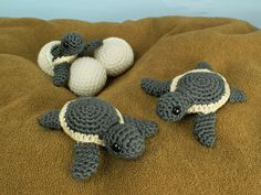 Baby Sea Turtle Collection: THREE amigurumi crochet patterns : PlanetJune Shop, cute and realistic crochet patterns & more