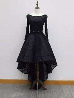 Chic A Line Prom Dress Modest Black Lace Cheap Long Prom Dress #VB1753