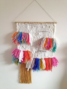 Woven tapestry colorful wall hanging modern home Fringe on Etsy, Sold