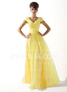 A-Line/Princess V-neck Floor-Length Chiffon Prom Dresses With Ruffle Beading (018005580)
