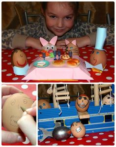 My daughter's decorated Easter eggs.  Pirates & shark and a Mad Hatter's tea party! @Roman Zangief Zangief at Home #GoldEaster