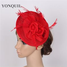 Feather Rose Hats Imitation Sinamay Fascinator Hair Clip Costume Hair Band Accessories ladies party decoration fashion headwear