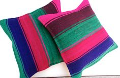 Peruvian Pillow covers Hand loomed Sheep  wool 18 x 18 handmade Set of 2 Striped cushion covers by khuskuy on Etsy