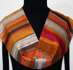 Hand Painted Silk Scarf Southern Sun. Silk Scarf in Brown, Orange, Burgundy. Size 8x52. Silk Scarves Colorado. 100% silk.  MADE TO ORDER