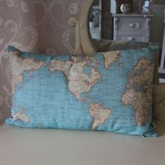 Green map of the world earth globe scatter bed sofa cushion urban