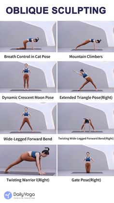 Oblique is one of the most important part to sculpt the abs muscles. poses acro poses advanced poses back pain poses flexibility poses for abs poses for beginner Gym Workout Videos, Pilates Workout, Easy Workouts, Pilates Reformer, Beginner Yoga, Yoga For Beginners, Advanced Yoga, Yoga Routine, Yoga Poses For Back