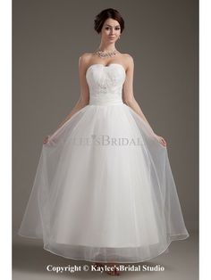 Satin and Organza Sweetheart Ankle-length Ball Gown Wedding Dress