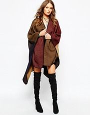 New Look Colourblock Blanket Stich Wrap