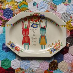 Meant To Be Bright Bunnies Vintage Illustrated Plate