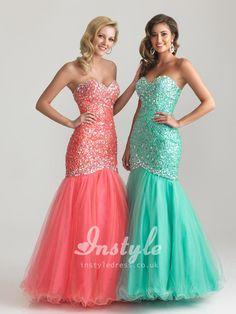 beaded sweetheart strapless mermaid long lace-up back tulle skirt prom dress