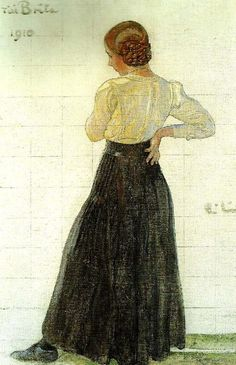 'To Brita', painting by Carl Larsson, 1910. Motif of Carl and Karin Larsson's daughter Brita.